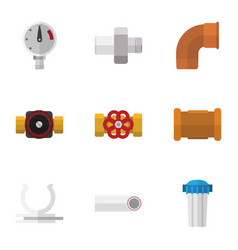 Flat icon plumbing set of water filter connector vector