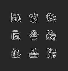 Foodstuff for nourishment chalk white icons set vector