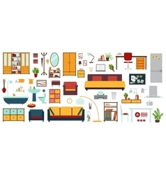 Furniture icons in flat style for house vector image