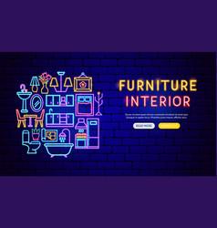 furniture neon banner design vector image