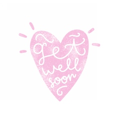 Get well soon heart silhouette with calligraphy vector