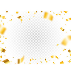 gold confetti frame on transparent backdrop vector image