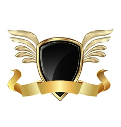 Gold shield and wings vector image