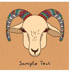 Hand drawn goat on canvas vector image