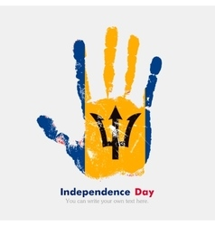 Handprint with the Flag of Barbados in grunge vector