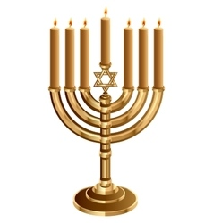 Hanukkah candleholder with 7 candles Candlestick vector