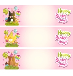Happy Birthday cards with cat dog bird vector image
