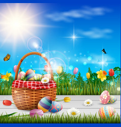 happy easter with eggs and flowers background vector image