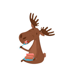 Happy moose eating delicious cake wild forest vector