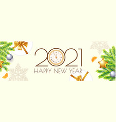 happy new 2021 year party poster template vector image
