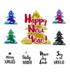 Happy New Year typography and trees set vector image