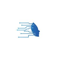 Human face technology logo vector