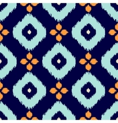 ikat geometric seamless pattern orange and blue vector image
