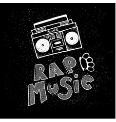 inscription lettering rap music stylized in vector image