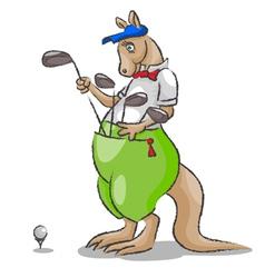 Kangaroo and golf vector image vector image