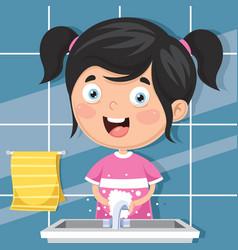 Kid washing hands vector