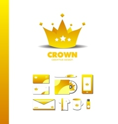 King crown golden luxury gold logo icon vector image
