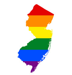 lgbt flag map of new jersey rainbow map of new vector image