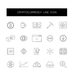 line icons set cryptocurrency pack vector image