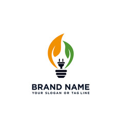 Logo design leaves and electricity lights vector