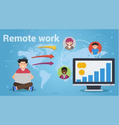 Long business flat concepts of remote work vector