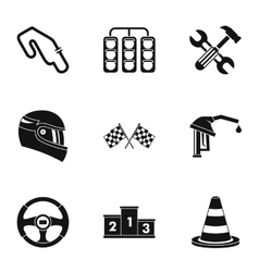 Machine race icons set simple style vector