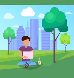 Male in park using modern computer technologies vector