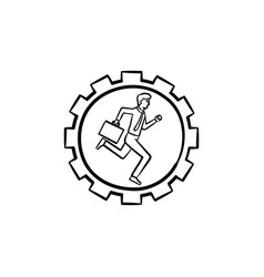 man running in the gear hand drawn sketch icon vector image
