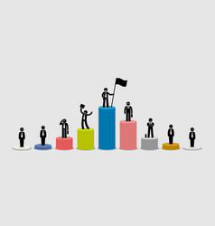many different businessman standing on bar charts vector image