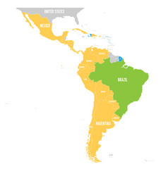 Map of latin america with differently vector
