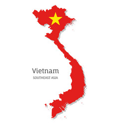 Map vietnam with national flag vector