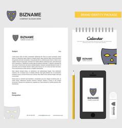 mask business letterhead calendar 2019 and mobile vector image