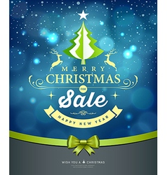 Merry Christmas lettering green tree sale design vector image