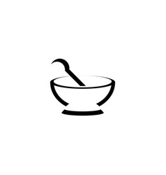 mortar and pestle stylized logo icon vector image