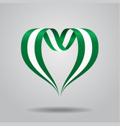 nigerian flag heart-shaped ribbon vector image