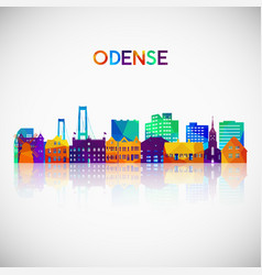Odense skyline silhouette in colorful geometric vector