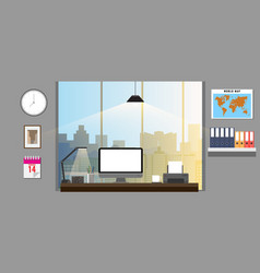 Office interior with office equipments office vector