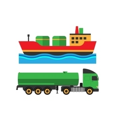 Oil extraction truck shipping and ship vector