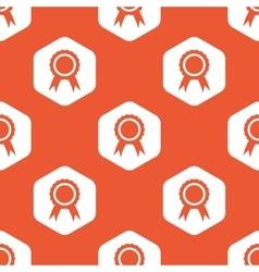 Orange hexagon certificate seal pattern vector