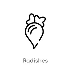 outline radishes icon isolated black simple line vector image