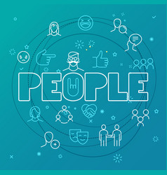 People concept different thin line icons included vector