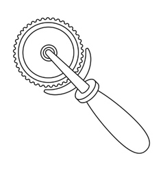 Pizza cutter icon in outline style isolated on vector
