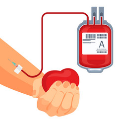 Process of blood donation human hand and plastic vector