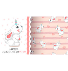 rabbit with heart - seamless pattern vector image