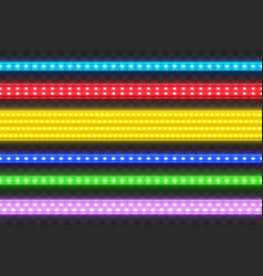 realistic seamless led colorful strip set vector image
