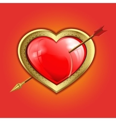 Red heart with a gold border is punched with an vector