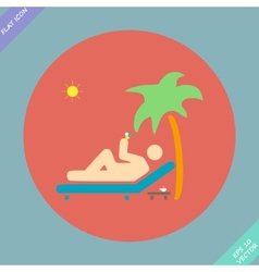 Relax under an palm on a lounger - vector