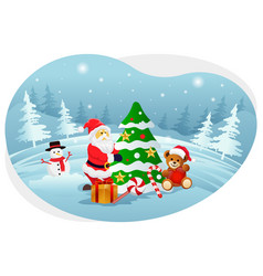 Santa decorating christmas tree vector
