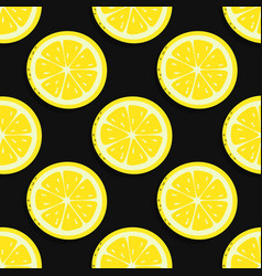 seamless pattern lemon isolated on black vector image