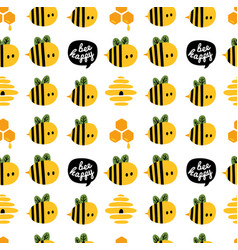 seamless pattern with cartoon bees and beehive vector image